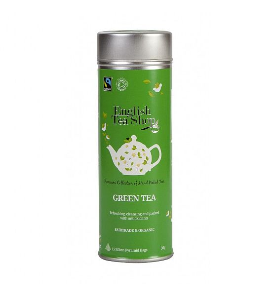 Bio čaj English Tea Shop 15 pyramidek v dárkové plechovce - ZELENÝ ČAJ - BIO A FAIRTRADE