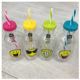 Láhev Zak Designs Smiley Emoticon s brčkem růžová 550 ml