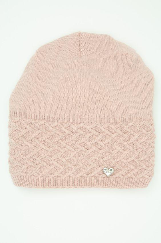 Dámská zimní čepice bez bambule Veilo - růžová e37532a3f8
