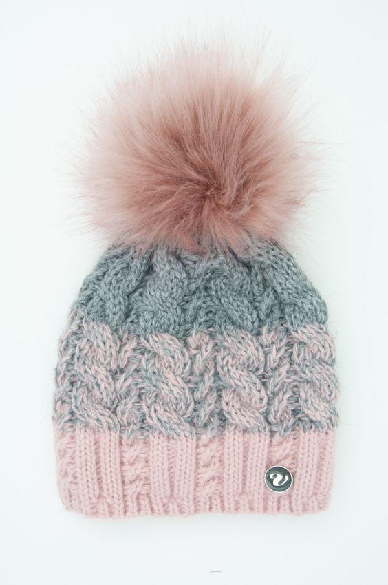 Dámská zimní čepice s bambulí Veilo - růžová+tm.šedá 870e204a74